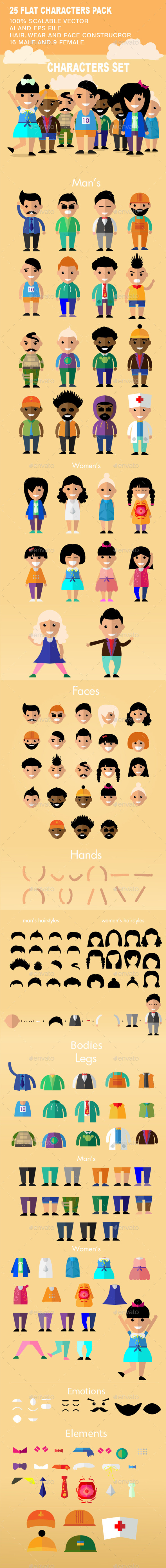 25 Flat Characters Design Vector Pack