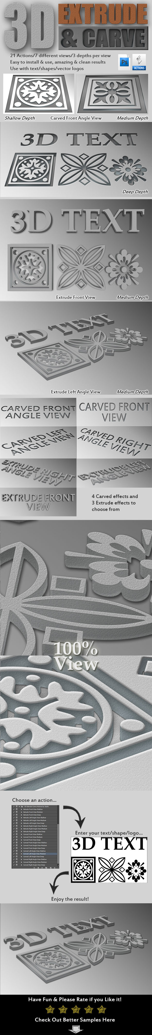 3D Extrude-Carve Actions