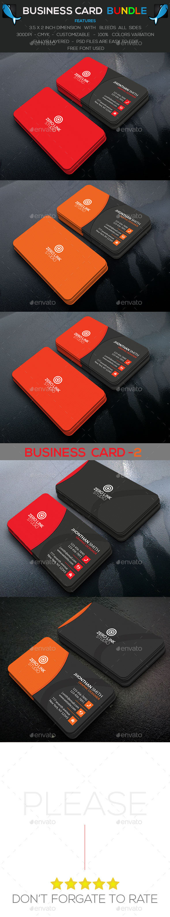 Corporate Business Card Bundle Awesome color